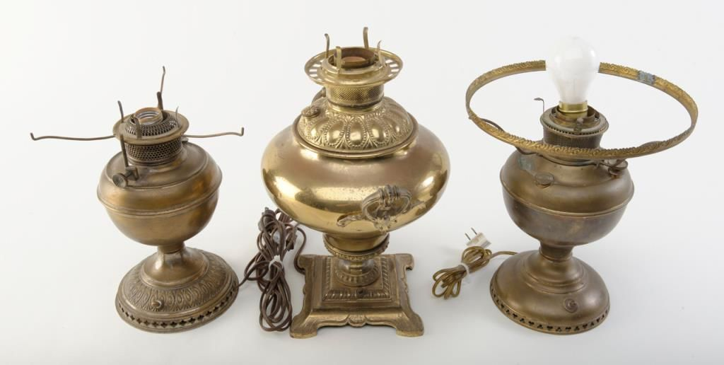 Superior Image 1 : Lot Of 3 Brass Lamps. Electrified Kerosene Lamp By Miller 15u201d ...
