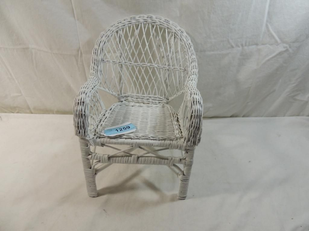 Small White Wicker Doll Chair