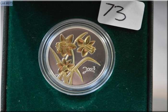2003 Fifty Cent Golden Daffodil Symbol Of Hope Silver And 22 Kt Gold