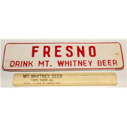Mt. Whitney Beer Foam Scraper and Tin Sign