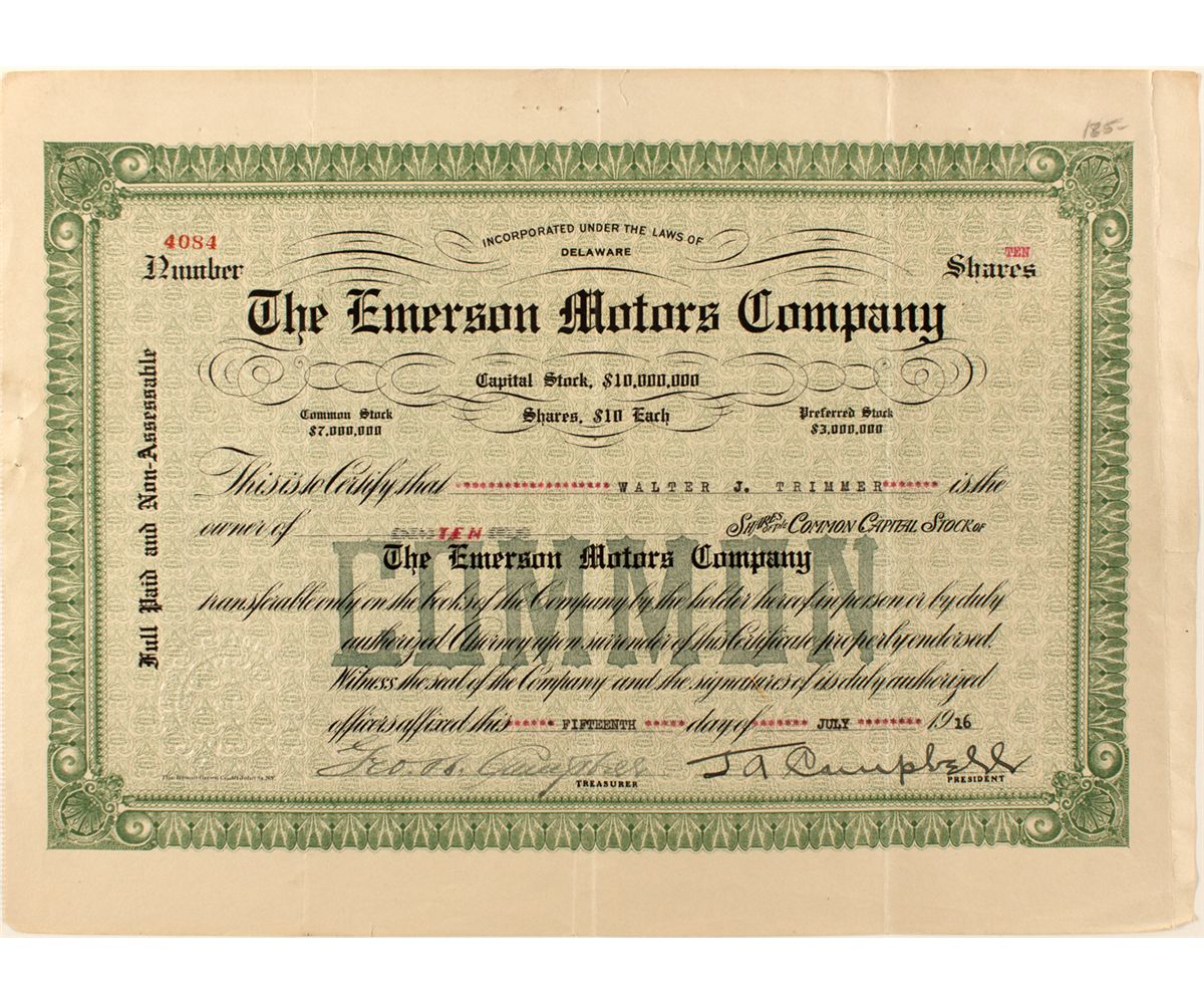 The Emerson Motors Company Stock Certificate Holabird
