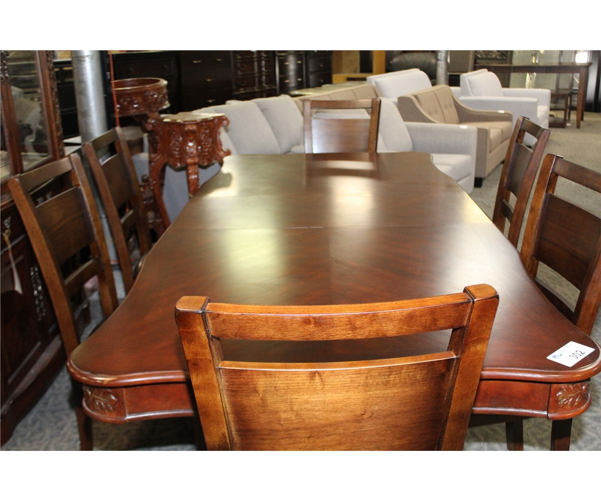 Formal Dining Room Sets For 6: FORMAL DINING ROOM SET WITH DARK WOOD TABLE AND LEAF, 6