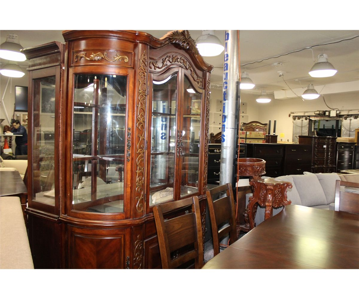 FORMAL DINING ROOM SET WITH DARK WOOD TABLE AND LEAF, 6