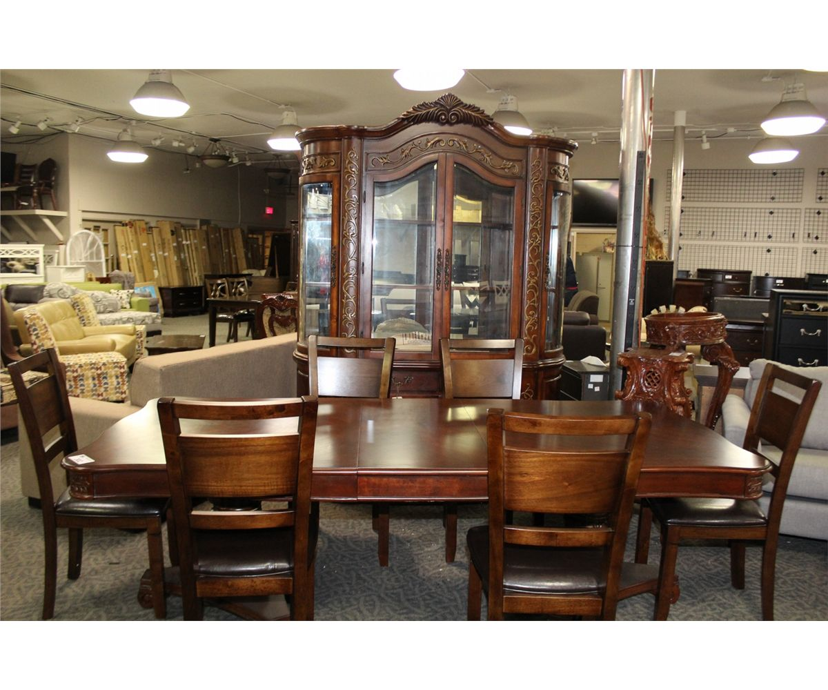 Dining Room Sets With Buffet: FORMAL DINING ROOM SET WITH DARK WOOD TABLE AND LEAF, 6
