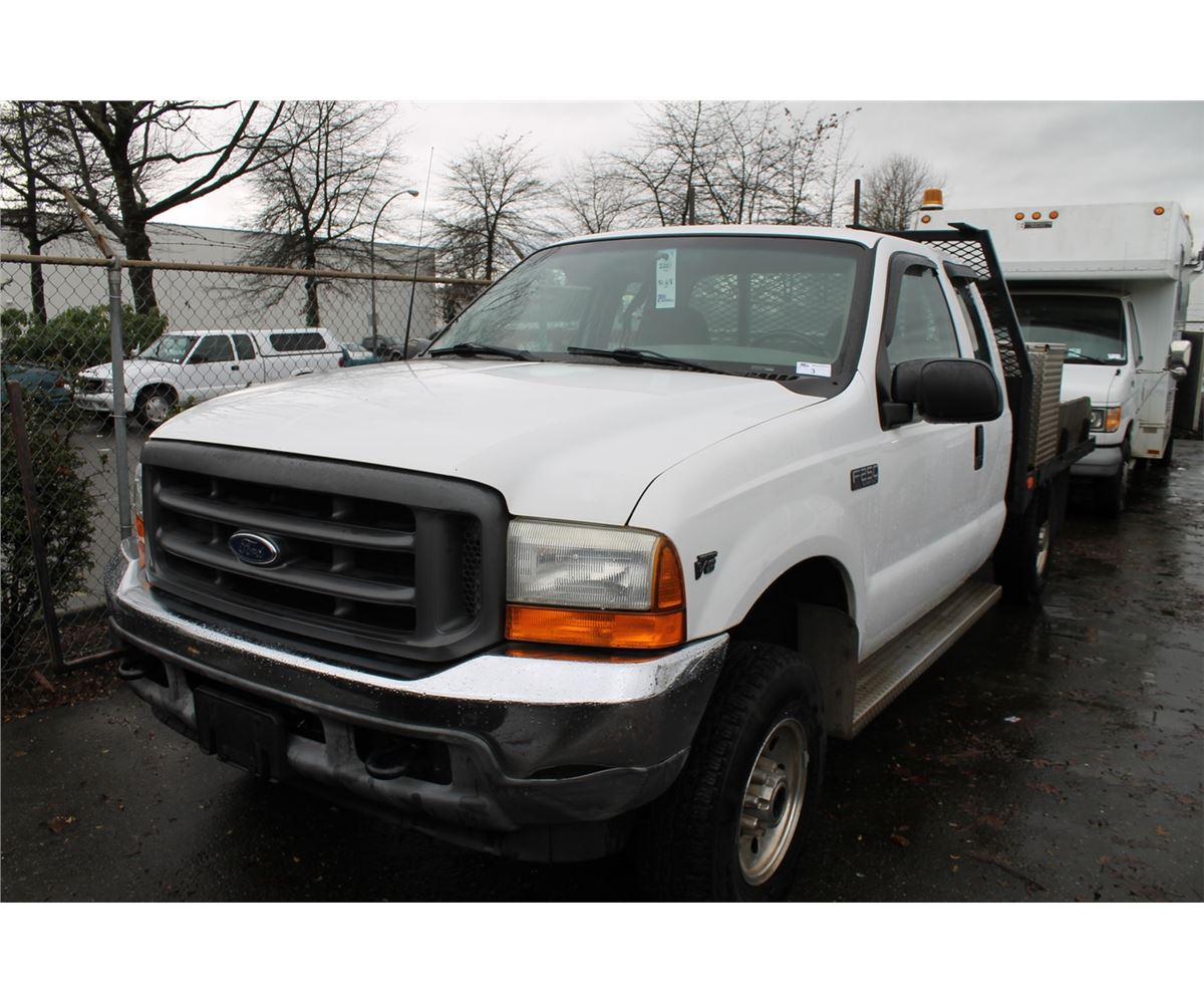 2001 ford f 250 xl super duty 2dr flatdeck truck white vin 1ftnx21l01ec13220 able auctions. Black Bedroom Furniture Sets. Home Design Ideas