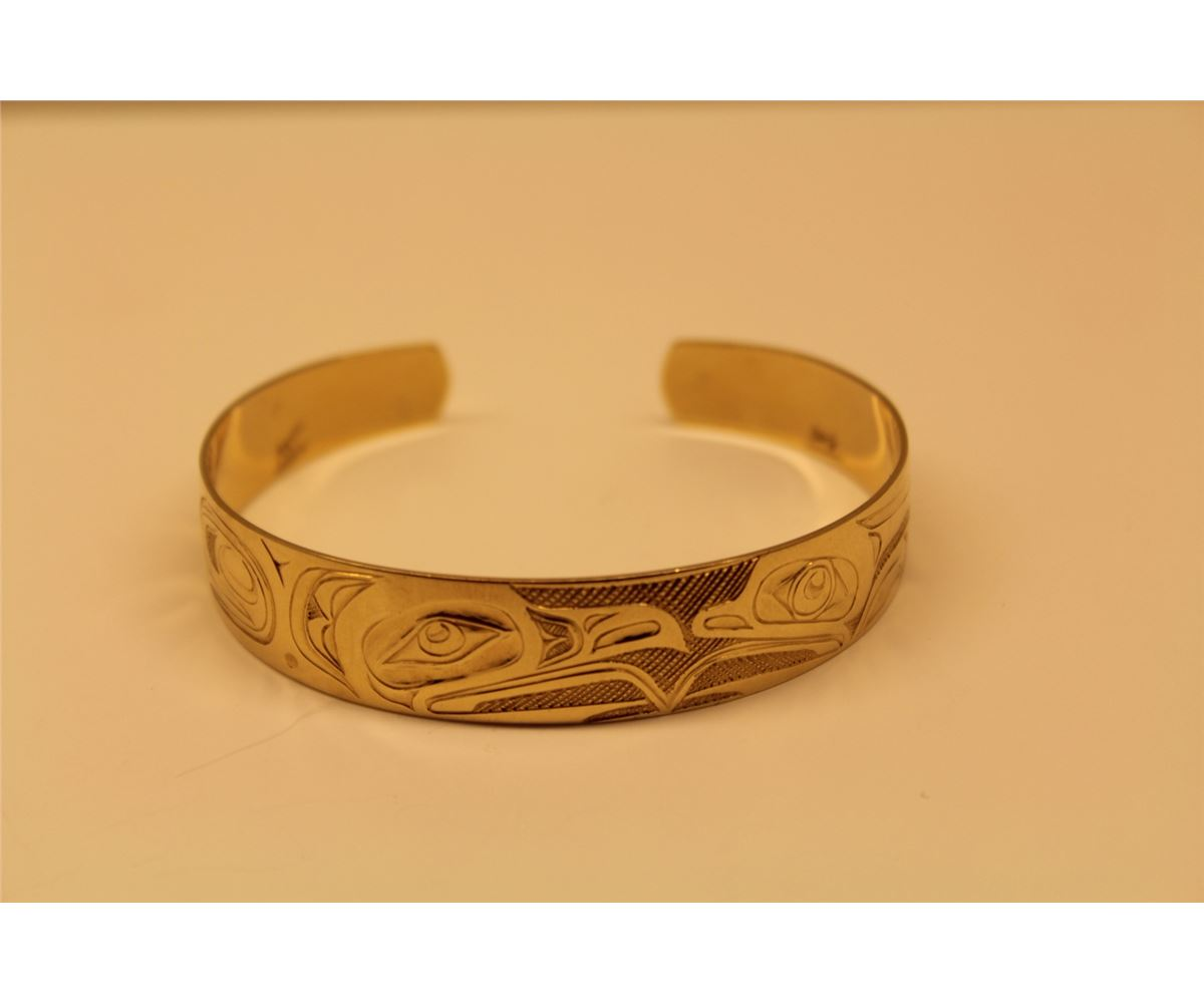 ONE 14KT YELLOW GOLD CUFF STYLE FIRST NATIONS HAND CARVED BRACELET ...
