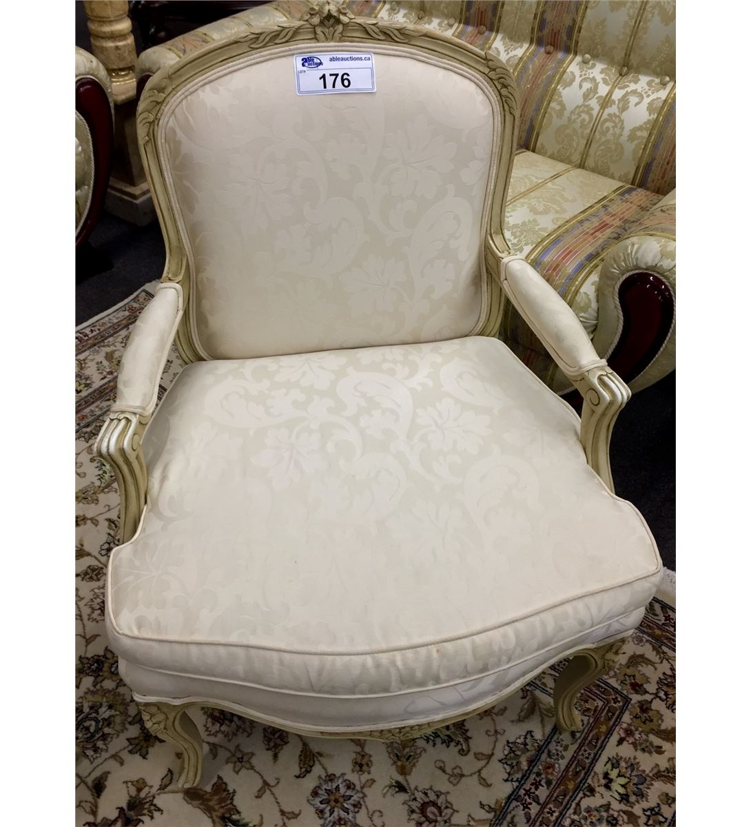 Matching pair of upholstered french arm chairs for Matching arm chairs