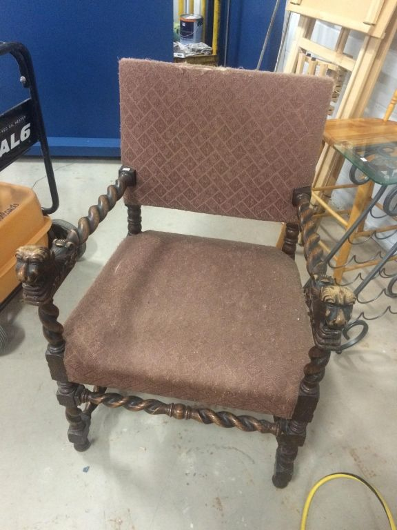 Superieur Image 1 : Antique Oak Barley Twist Chair With Carved Lion Head Arm Rests