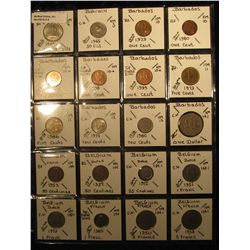 4. Plastic Coin Page containing (20) Coins from Bahamas Islands, Bahrain, Barbados, & Belgium. KM va