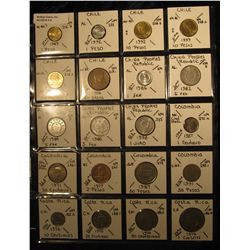 6. Plastic Coin Page containing (20) Coins from Chile, China People's Republic, Colombia, & Costa Ri