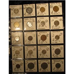 7. Plastic Coin Page containing (20) Coins from Costa Rica, Cuba, Cyprus, Denmark, & Domenican Repub