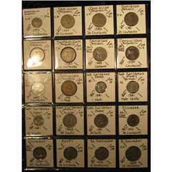 8. Plastic Coin Page containing (20) Coins from Domenican Republic, East Caribbean States, Ecuador,