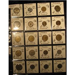 9 .Plastic Coin Page containing (20) Coins from El Salvador, Finland, & France. KM value $11.30.