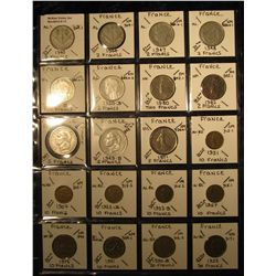 11. Plastic Coin Page containing (20) Coins from France including WW II. KM value $27.80.