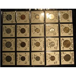 18. Plastic Coin Page containing (20) Coins from Hong Kong, Hungary, Iceland, & India. KM value $11.