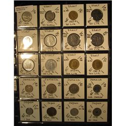 20. Plastic Coin Page containing (20) Coins from Italy, Jamaica, & Japan. KM value $17.20.