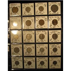 21. Plastic Coin Page containing (20) Coins from Kenya, South Korea, Kuwait, Malaya & British Borneo