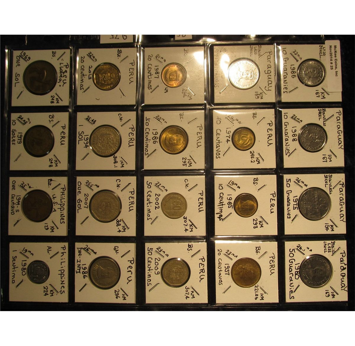 Plastic Coin Page Containing 20 Coins From Paraguay