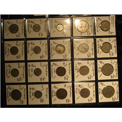 27. Plastic Coin Page containing (20) Coins from the Philippines Islands & Portugal. KM value $14.00
