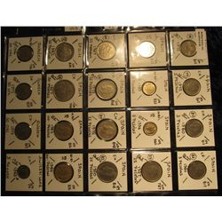 29. Plastic Coin Page containing (20) Coins from Spain, Sweden, & Switzerland. KM value $8.90.
