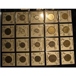 31. Plastic Coin Page containing (20) Coins from Turkey, United Arab Emirates, Uruguay, Venezuela, &