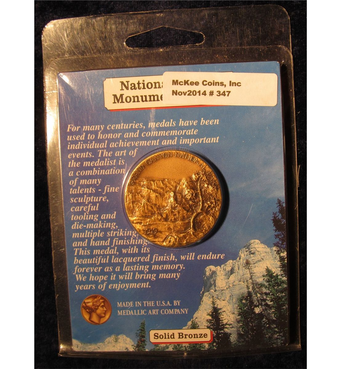 1872 National Parks Centennial 1972 1919 Grand Canyon Park Bronze High Relief Meda Loading Zoom Image 1