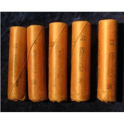 803. (5) 1963 P Solid Date Rolls of U.S. Lincoln Cents in original wrappers. All Gem BU.