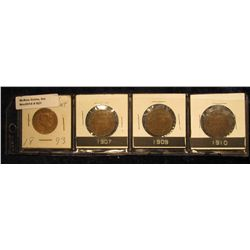 821. 1893, 1907, 1909, & 1910 Canada Large Cents. Grades up to VF.
