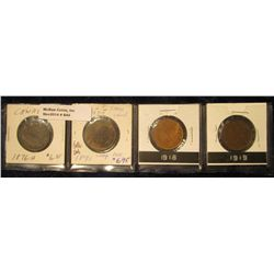 844. 1876H, 1891 Large Date (scarce), 1918, & 1919 Canada Large Cents. Grades up to VF.
