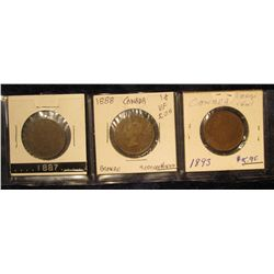 846. 1887, 1888, & 1893 Canada Large Cents. Grades up to VF.