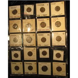 848. Plastic page of (20) Canada Small Cents: (2) 1920, 21, (2) 27, (2) 28, (2) 29, 30, 31, (2) 32,