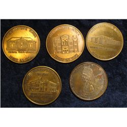 916. (5) different Webster City, Iowa Coin and Antique Show Medals. 39mm. Brass.