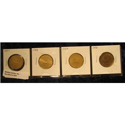 """931. Complete Set of 1987-1990 Canada """"Loonie"""" Dollar Coins. All in holders and partial plastic page"""
