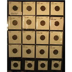 939. (20) U.S. Indian Head Cents 1881-1907 in a plastic page. Coins grade up to EF.