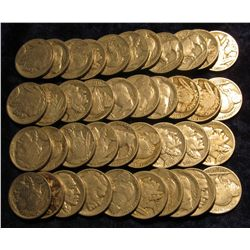 1110. Solid Date Roll of Pre 1939 U.S. Buffalo Nickels with Indian Heads. (40 pcs.).