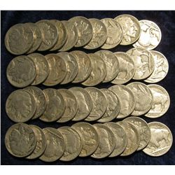 1111. Solid Date Roll of Pre 1939 U.S. Buffalo Nickels with Indian Heads. (40 pcs.).