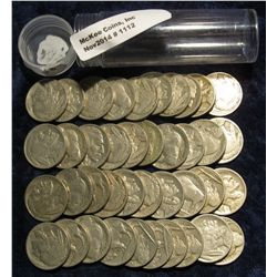 1112. Solid Date Roll of Pre 1939 U.S. Buffalo Nickels with Indian Heads. (40 pcs.).
