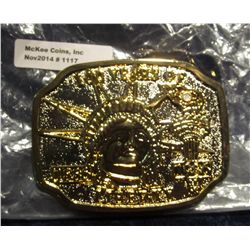 """1117. New Silver & Gold-plated Belt Buckle """"100 Years of Liberty 1886-1985"""""""