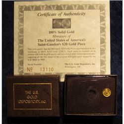 1120. 100% Solid Gold Miniature of the United States of America's Saint Gauden's $20 Gold Piece in b
