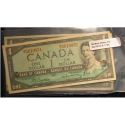 1124. (3) Series 1954 Bank of Canada $1 Notes.