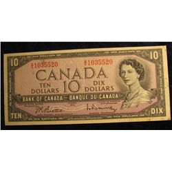 1127. Series 1954 Bank of Canada $10 Note.