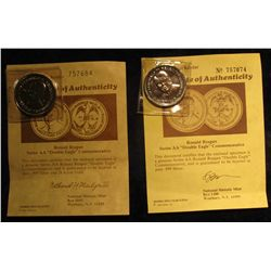 1128. (2) Ronald Reagan Double Eagle Commemorative Coins with Certificates of Authenticity.