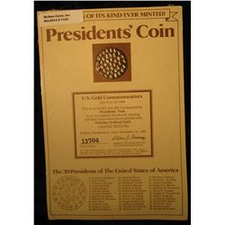 1142. 24K Gold-Electroplated President's Coin with 39 Presidents depicted. Issued in 1981 as a very