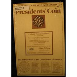 1143. 24K Gold-Electroplated President's Coin with 39 Presidents depicted. Issued in 1981 as a very