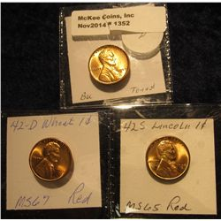 1352. 1942 P, D, & S Lincoln Cents. Gem BU Red.
