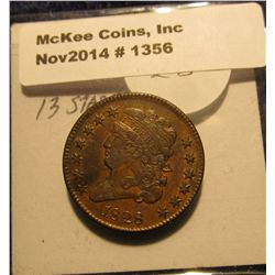 1356. 1828 U.S. Half Cent. 13 Stars. Brown MS 60. Bid is $260.00.