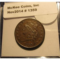 1359. 1833 U.S. Half Cent. Chocolate Brown Unc. Mtg. 103,000. MS 63 Red Book value is $325.00.