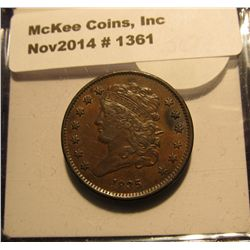 1361. 1835 U.S. Half Cent. MS 60+. Brown. Red book value $325.00.