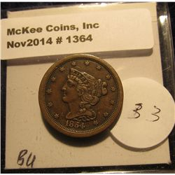 1364. 1854 U.S. Half Cent. Unc. MS 63 Red book value $400.00.