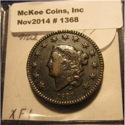 1368. 1831 U.S. Large Cent. Medium letters. EF. Red book $150.00.